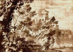Nicolas-Poussin-Landscape-with-Trees-and-Tower1